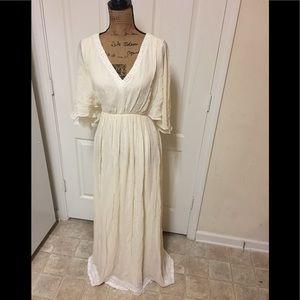 Massimo Dutti Flutter Sleeve Maxi Dress